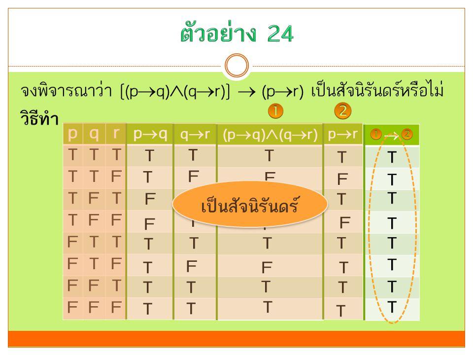 ตัวอย่าง 24 จงพิจารณาว่า [(pq)(qr)]  (pr) เป็นสัจนิรันดร์หรือไม่ วิธีทำ   p. q. r. T.